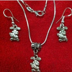 Rabbit 925 Stamped Necklace & Earrings Sets
